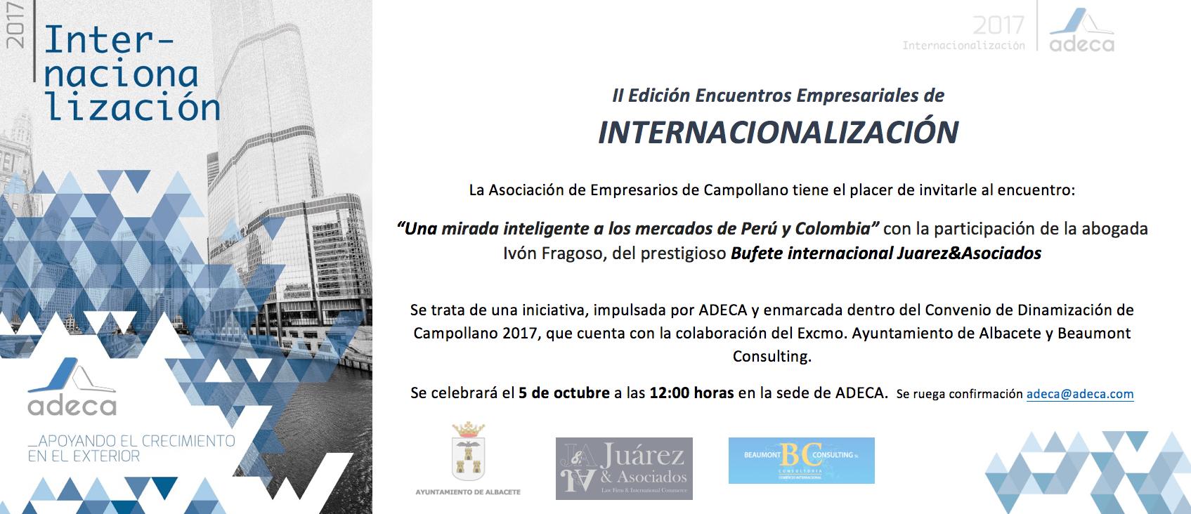 INVITACIÓN ENCUENTRO INTERNACIONALIZACIÓN 5 OCTUBRE JUAREZ Y ASOCIADOS